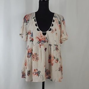 LUCKY BRAND Size Large Floral Print Boho Top